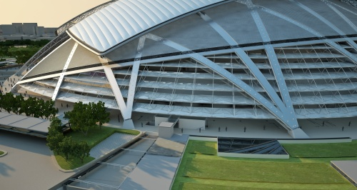 Singapore National Stadium - exterior detail [via archdaily.net]