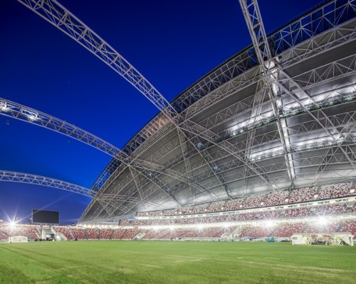 Singapore National Stadium - interior trusses [via e-architect.co.uk]