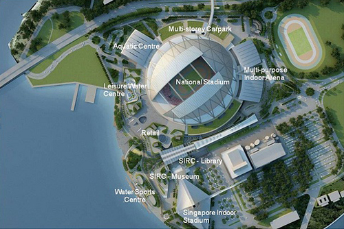 Singapore Sports Hub site plan [via xcite.fun.net] 2