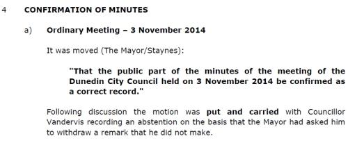 DCC Unconfirmed Minutes - Council - 15.12.14 ordinary meeting Item 4 [excerpt]