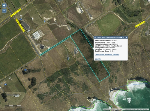 DCC Webmap - 47 Tunnel Beach Road, Dunedin (Ratepayers BK & A Lemm)
