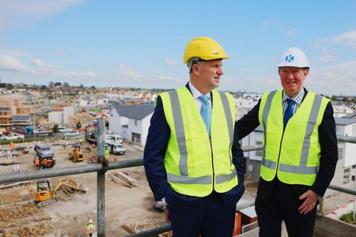 John Key PM + Nick Smith at Hobsonville housing development 24.8.14 [Hannah Peters - Getty Images AsiaPac]