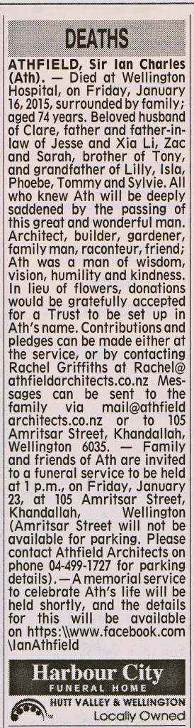 ODT 20.1.15 Ian Athfield - Death Notice p21