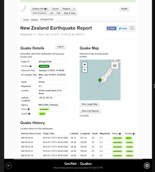 QUAKE Geonet 14.1.15 at 12.40am