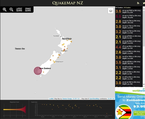 QuakeMap NZ 14.1.15 at 12.40am