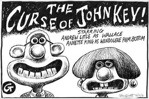 Tom Scott cartoon 13.12.14 - Curse of John Key