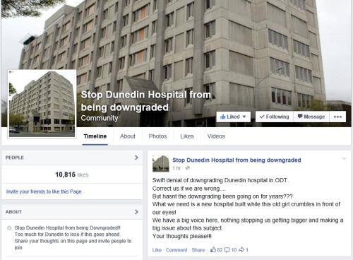 Facebook - Stop Dunedin Hospital from being downgraded [modified screenshot 9.2.15]