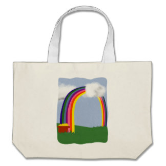 rainbow_with_a_pot_of_gold_cartoon_shopping_bag [zcache.com]