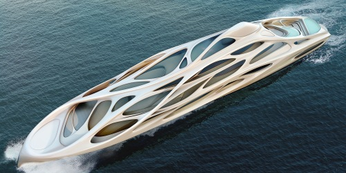 Zaha Hadid. Superyacht for Blohm+Voss - birdseye [archdaily.net]