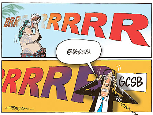 Emmerson Cartoon - Snowden revelation on GCSB - Thu 5.3.15 (via NZ Herald)