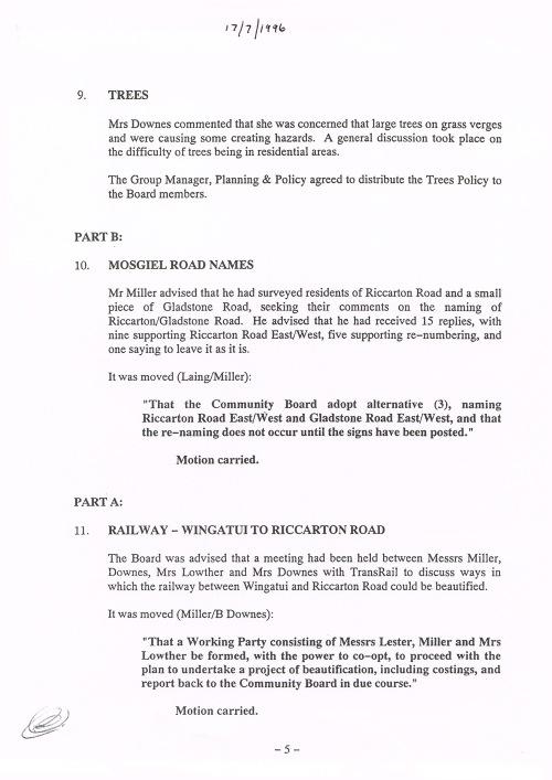 Mosgiel-Taieri Community Board minutes 17.7.96