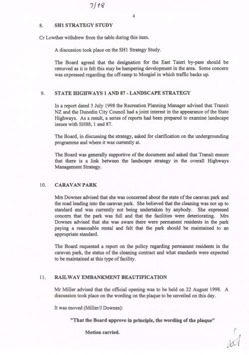 Mosgiel-Taieri Community Board minutes July 1998