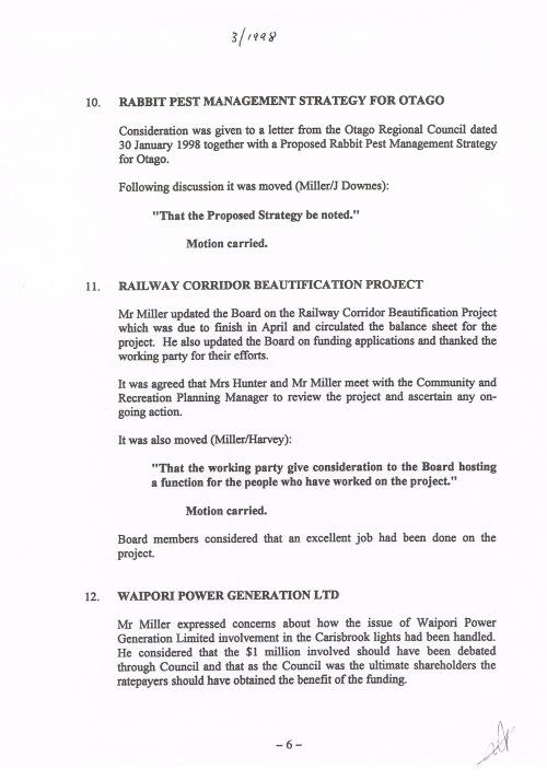Mosgiel-Taieri Community Board minutes Mar 1998