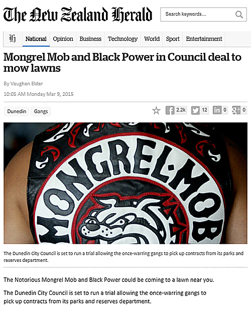 NZ Herald Online 9.3.15 Mongrel Mob and Black Power in Council deal to mow lawns