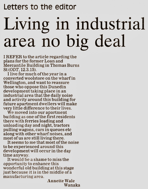 ODT 20.3.15 Letter to editor Annette Wale p12