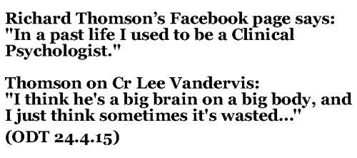 Richard Thomson Facebook - ODT 24.4.15 Cr Thomson on Cr Vandervis 1
