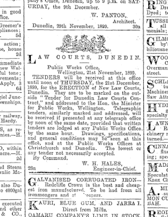 Dunedin Courthouse (tenders) Otago Daily Times, Issue 11601, 8 December 1899, Page 1