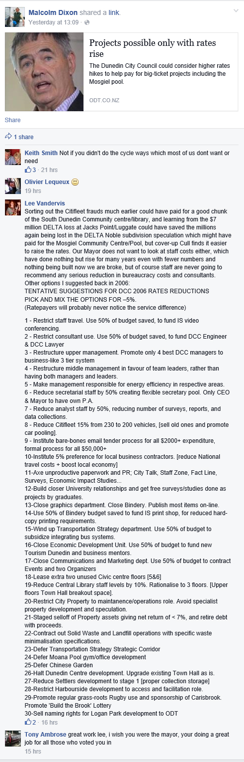 Facebook - Lee Vandervis on DCC projects (via Malcolm Dixon link to Build Dunedin)