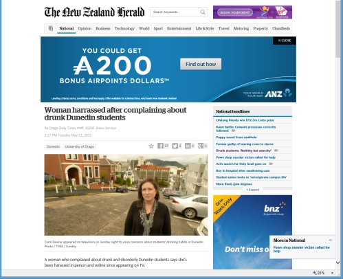 NZ Herald 12.5.15 Woman harassed [nzherald.co.nz]