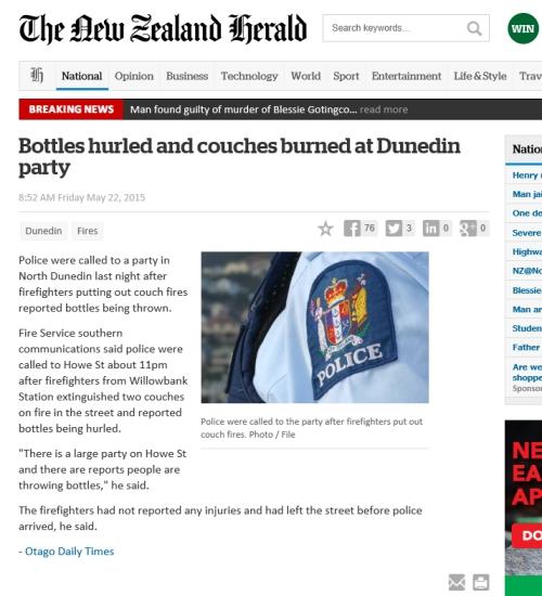 NZ Herald 22.5.15 Bottles thrown (via ODT)