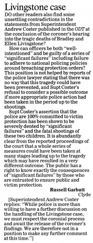 ODT 8.5.15 Letter to editor Garbutt p12