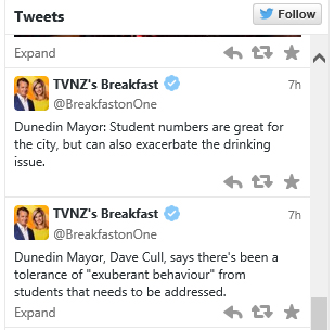 Tweets Breakfast 11.5.15 [tvnz.co.nz - screenshot]