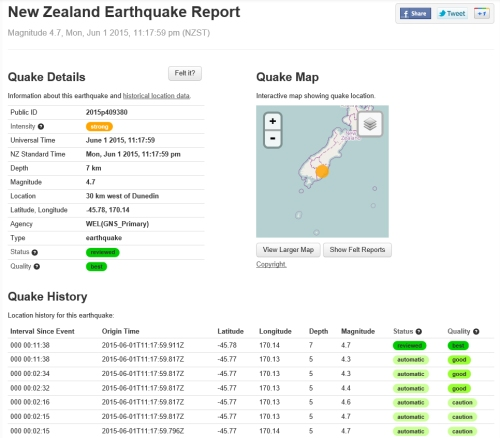 Geonet NZ Earthquake Report 1.6.15 (for Dunedin)