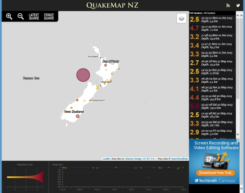 QuakeMap NZ 1.6.15 at 11.17 pm near Dunedin