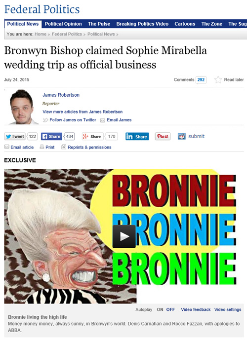 Canberra Times 24.7.15 Bronwyn Bishop + Video Spoof 1 [screenshot]