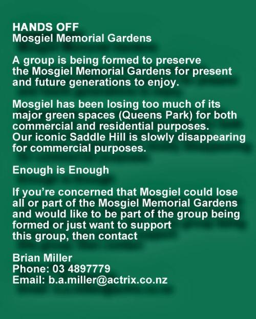 Hands off Mosgiel Memorial Garden 3