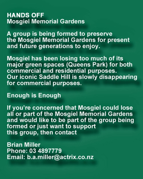 Hands off Mosgiel Memorial Garden 3