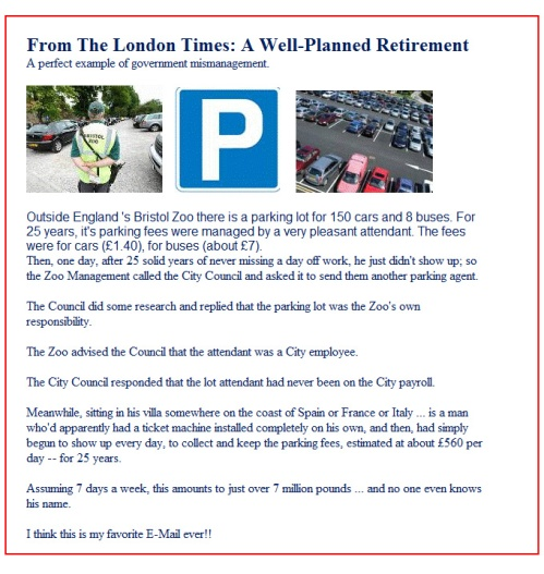 London Times - A Well-Planned Retirement (email)