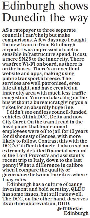 ODT 13.7.15 Letter to editor Dickie p6