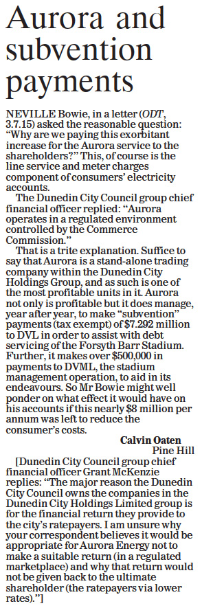 ODT 29.7.15 Letter to editor Oaten p12