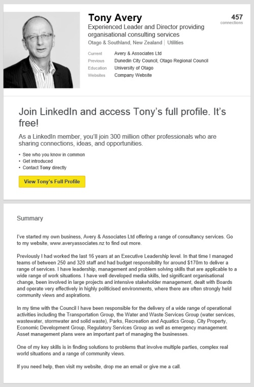 Tony Avery LinkedIn profile as at 18.7.15 [screenshot]