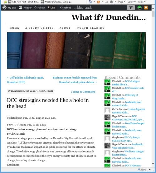 What if Dunedin [screenshot of WordPress header bug at 12.47pm 28.7.15]