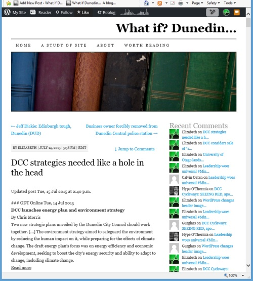 What if Dunedin [screenshot of WordPress header bug at 12.47pm 28.7.15]