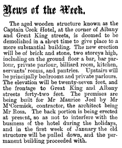 Cook Hotel - Otago Witness 29.11.1873 p19 News of the Week [Papers Past]