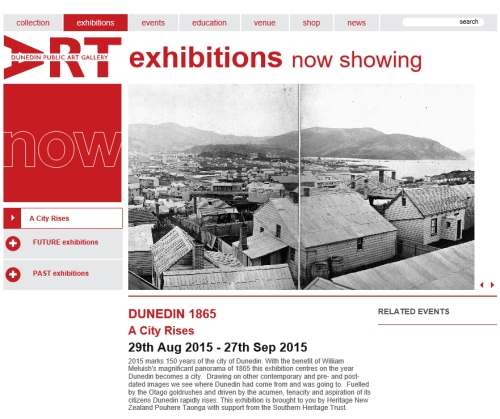 DPAG exhibition - Dunedin 1865 A City Rises (29 Aug - 27 Sep 2015)