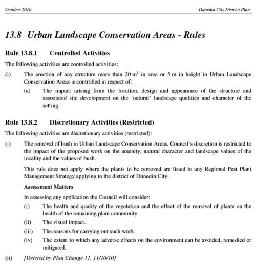 Dunedin City District Plan 13.8 ULCA