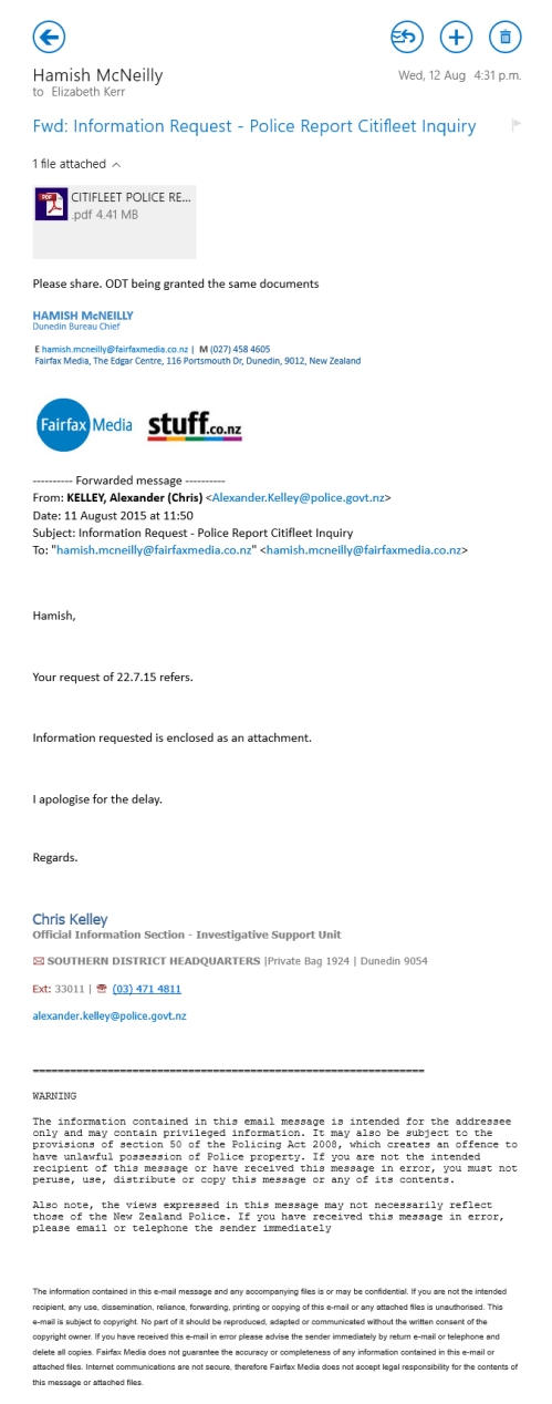 Email 12.8.15 - Hamish McNeilly Fairfax Media Dunedin Bureau Chief
