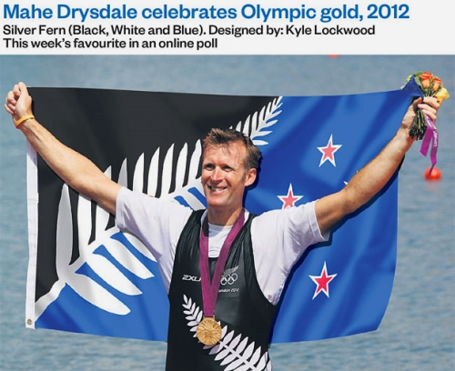 NZ Flag option - Mahe Drysdale celebrates Olympic Gold, 2012 [montage via NZ Herald]