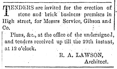 Tender Notice RA Lawson - Service Gibson and Co [ODT Issue 1374, 24.5.1866 p6 via Papers Past]