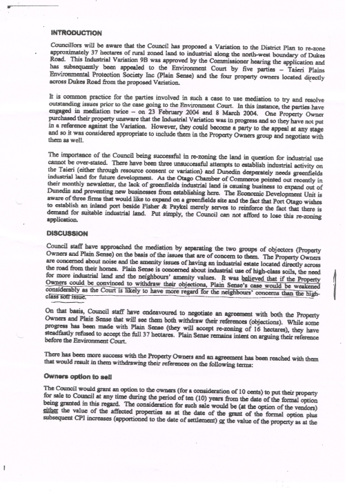 DCC Confidential Report INDUSTRIAL LAND Peter Brown 29 March 2004 p2