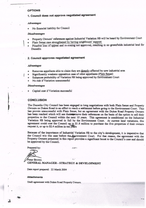 DCC Confidential Report INDUSTRIAL LAND Peter Brown 29 March 2004 p4
