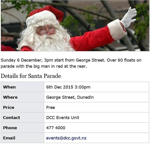 Dunedin Santa Parade 6 Dec 2015