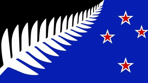 Flag Silver Fern (Black, White and Blue) by Kyle Lockwood