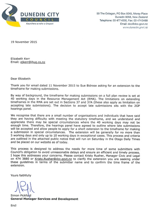Letter from Simon Pickford 19.11.15 - 2GP extensions