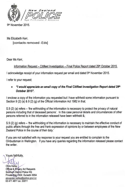 Letter, NZ Police 9Nov2015
