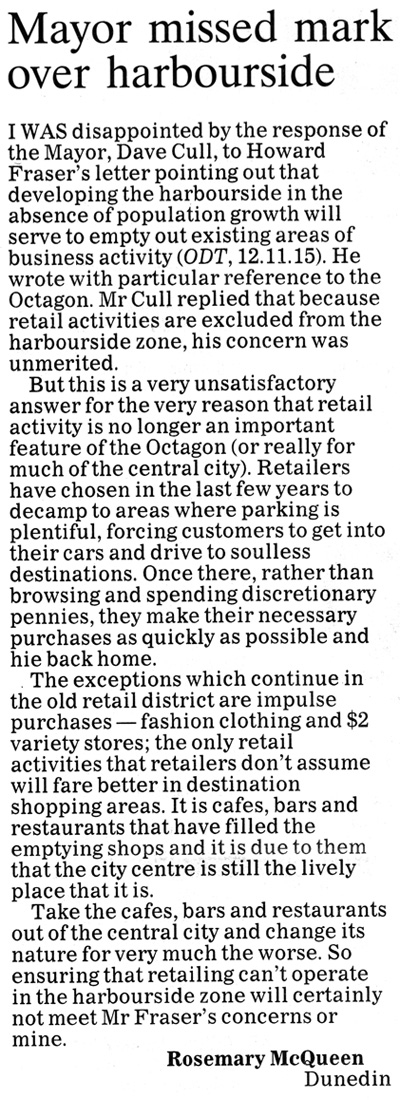 ODT 14.11.15 Letter to editor McQueen p30 (1)